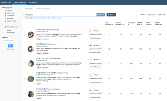 Buzzsumo keyword search
