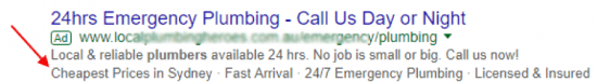 Google ads - call-out extensions