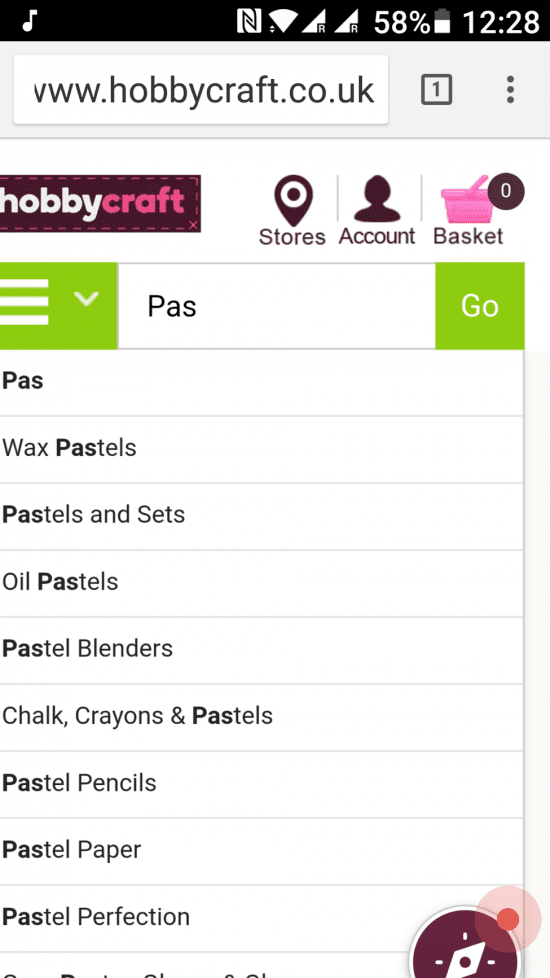 Hobbycraft UX on mobile example