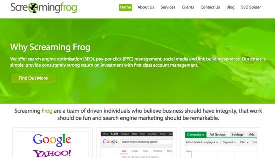 screamingfrog.com website (before)