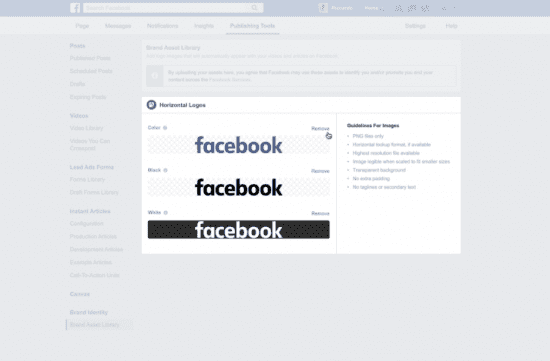 facebook brand asset library