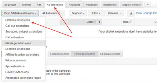 google ads - site link extensions