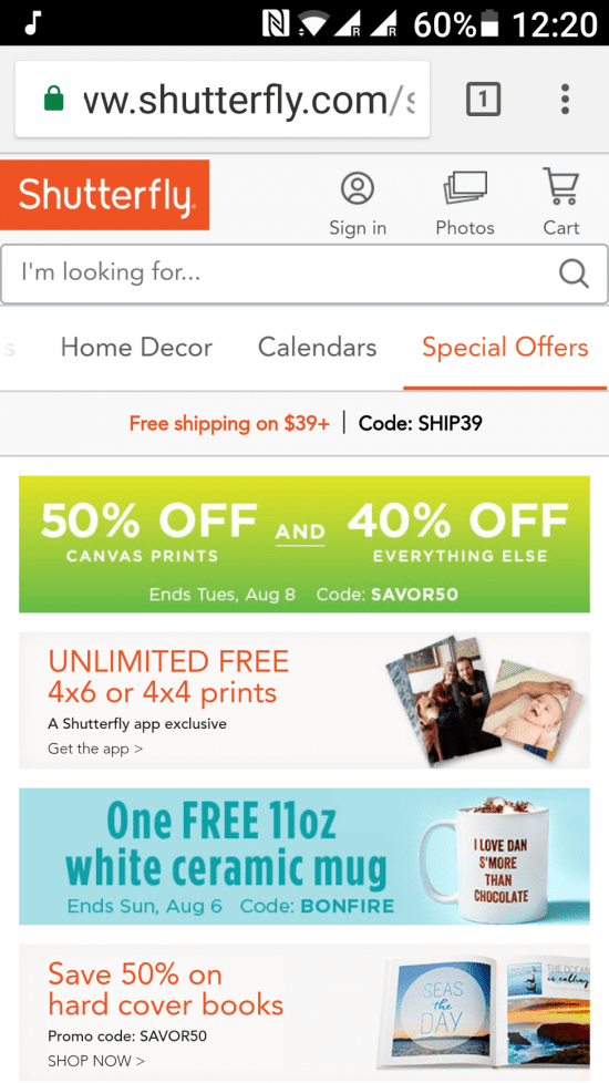 shutterfly mobile user experience
