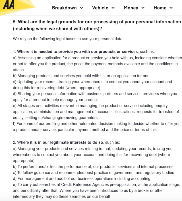 gdpr  example privacy policies and consent forms