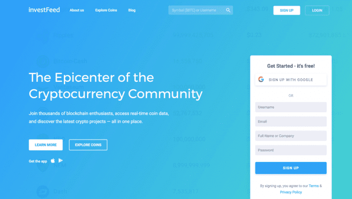 Invest Feed landing page