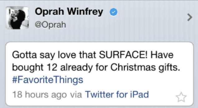 Oprah Winfrey microsoft surface
