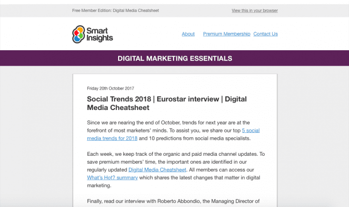 Smart Insights' enews desktop