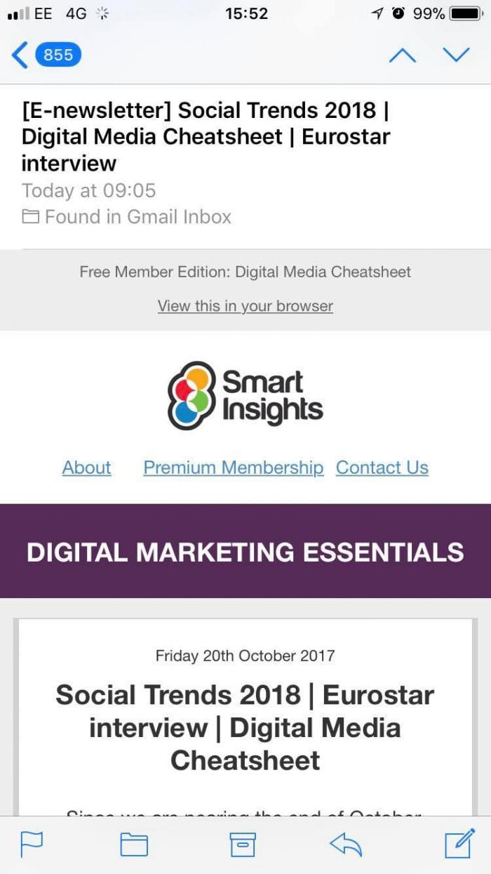 Smart Insights mobile optimized email