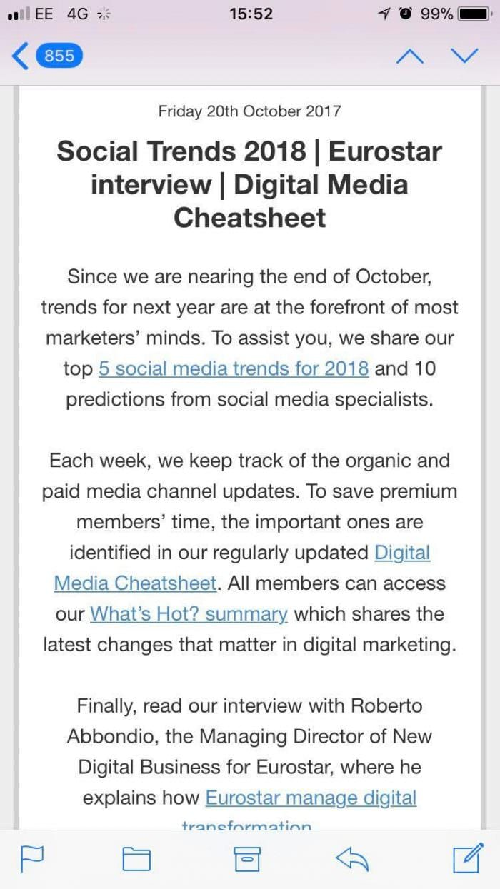 Smart Insights mobile optimized email 2