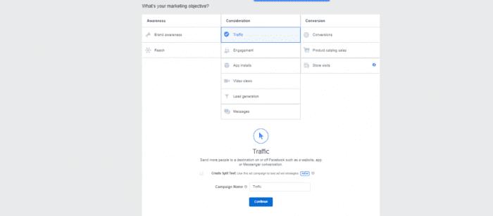 Facebook ad creation process