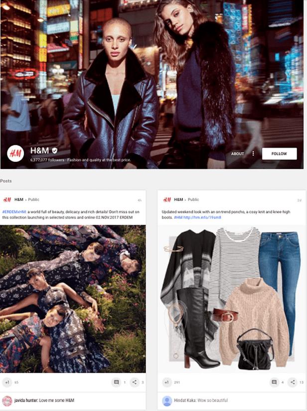 H&M Google+