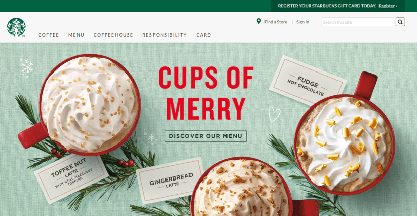 Starbucks christmas website design
