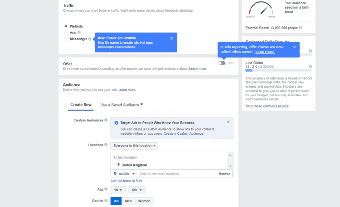 facebook ad creation process 2nd step