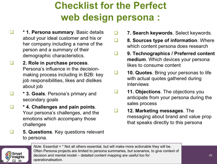 Checklist for the perfect web design persona