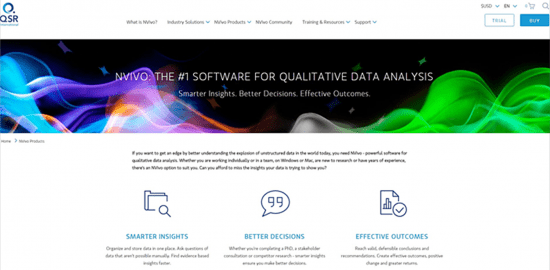 QSR website homepage
