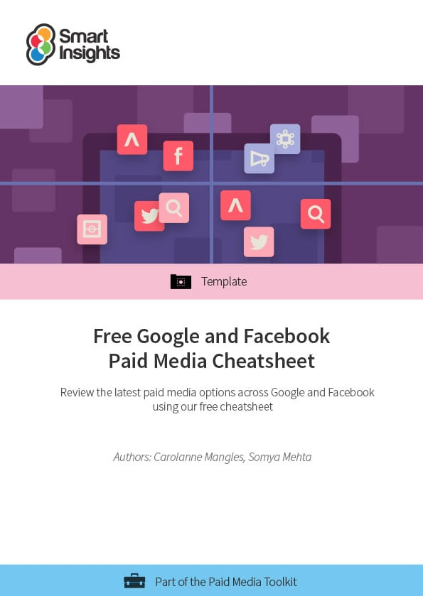 free google and facebook paid media cheatsheet smart insights