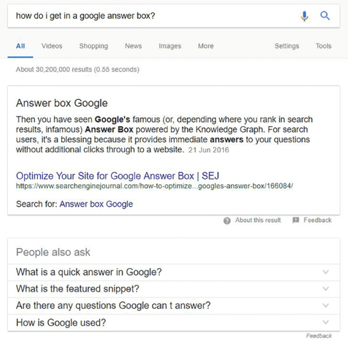 answer Box Google
