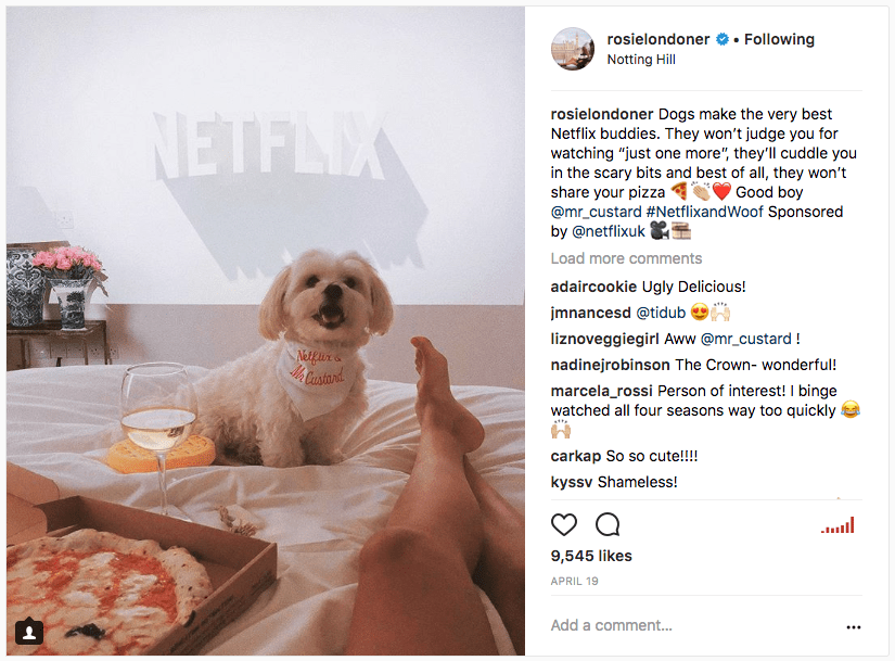 Instagram image of Rosie Londoner paid partnership with Netflix