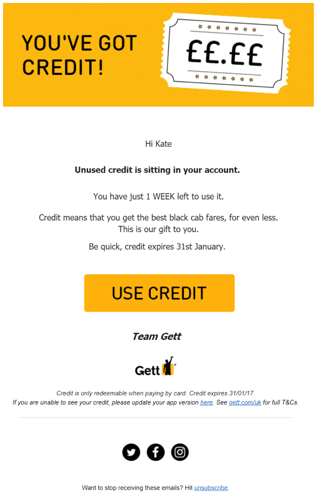 Gett inaction email.