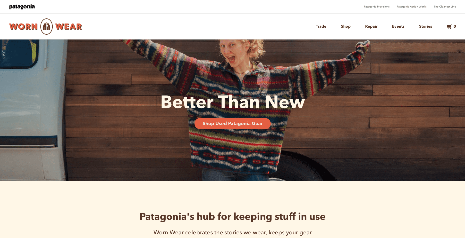 online brand experience - Patagonia worn wear