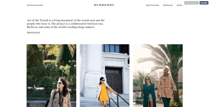 Online brand experience - Burberry