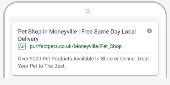 Example of mobile ad for pet store