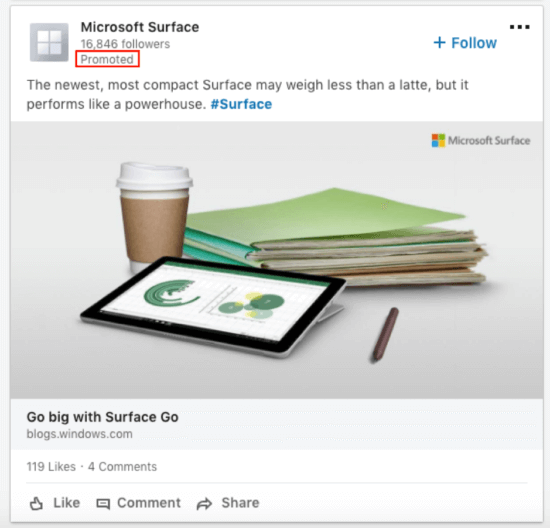 Example of a LinkedIn promoted post