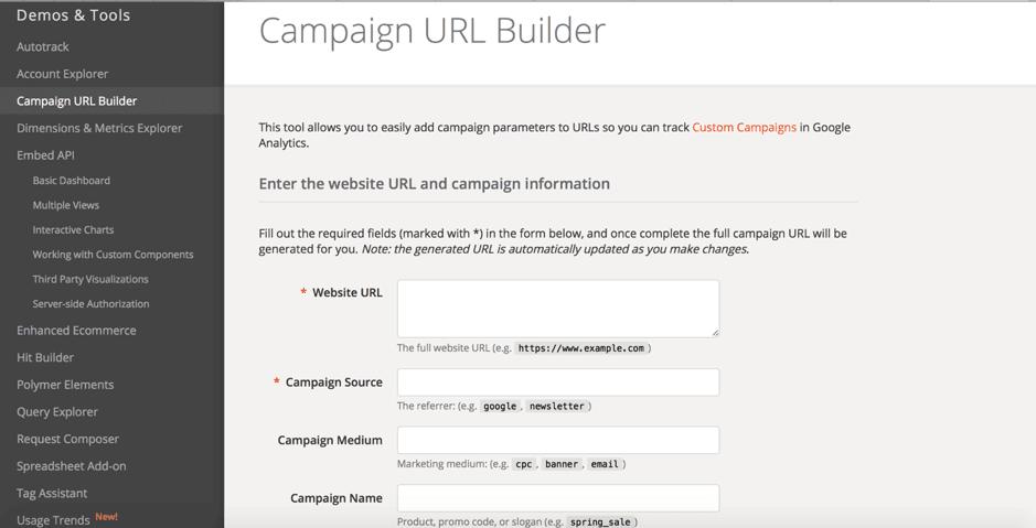 Google UTM builder