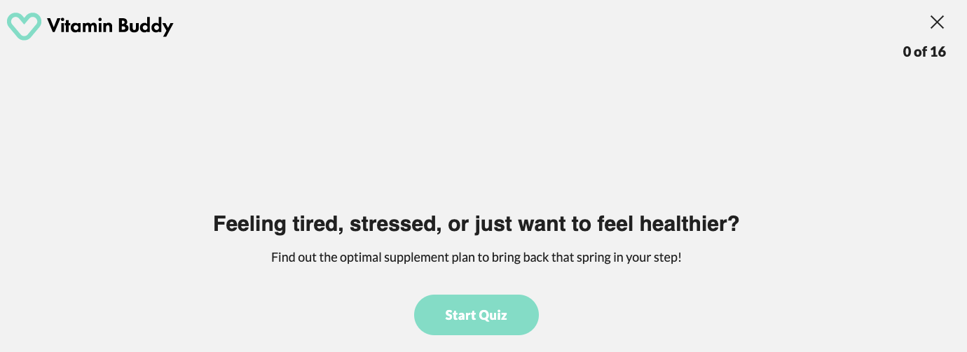 Digital experience quiz vitamins