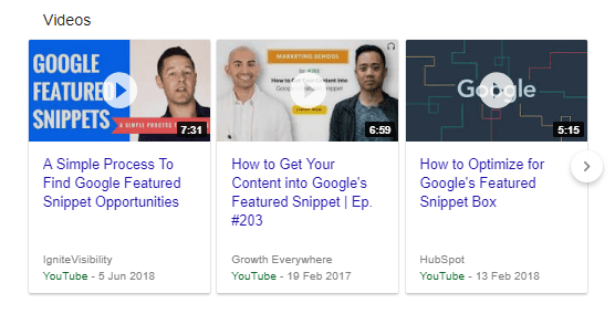 Featured snippet YouTube videos