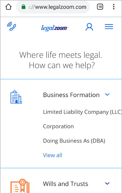 Legal Zoom mobile site