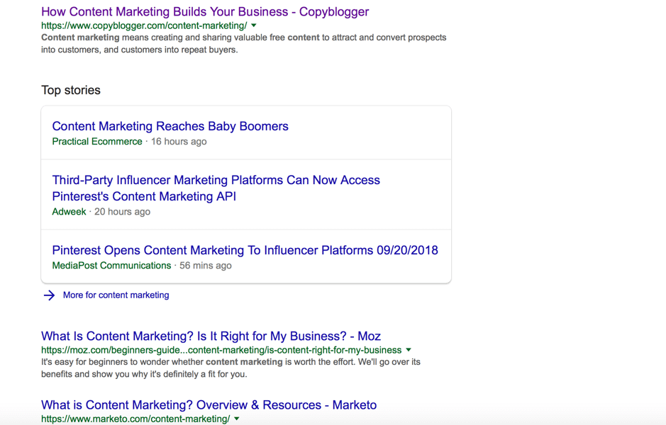 content marketing serp