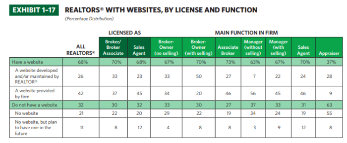 realtors with websites - by license and function