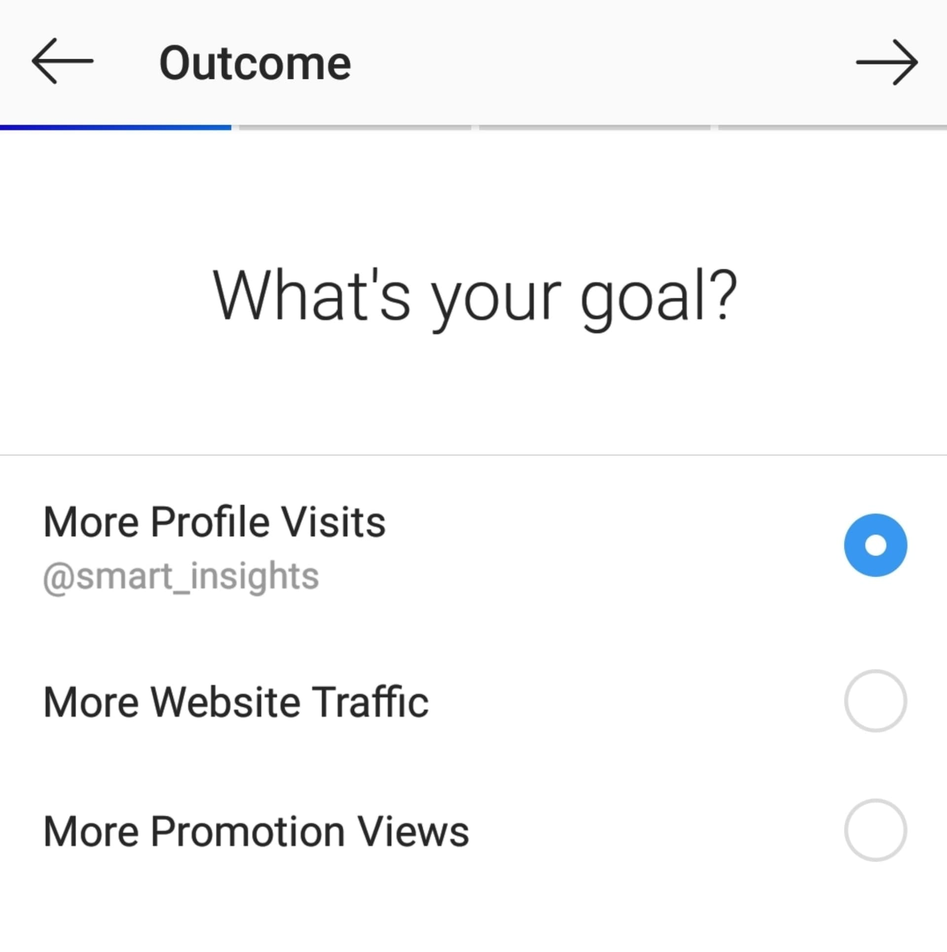 Instagram's ad promotion options