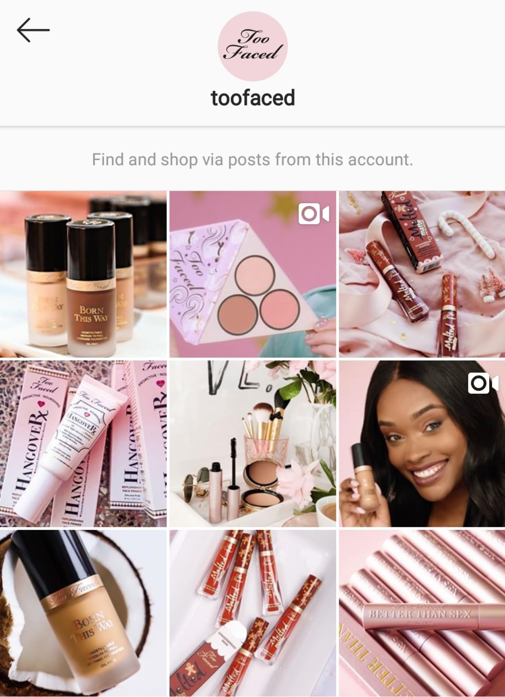 Too Faced Instagram Shop tab