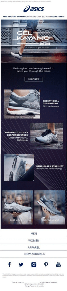 ASICS email example