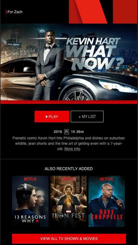 Netflix email example