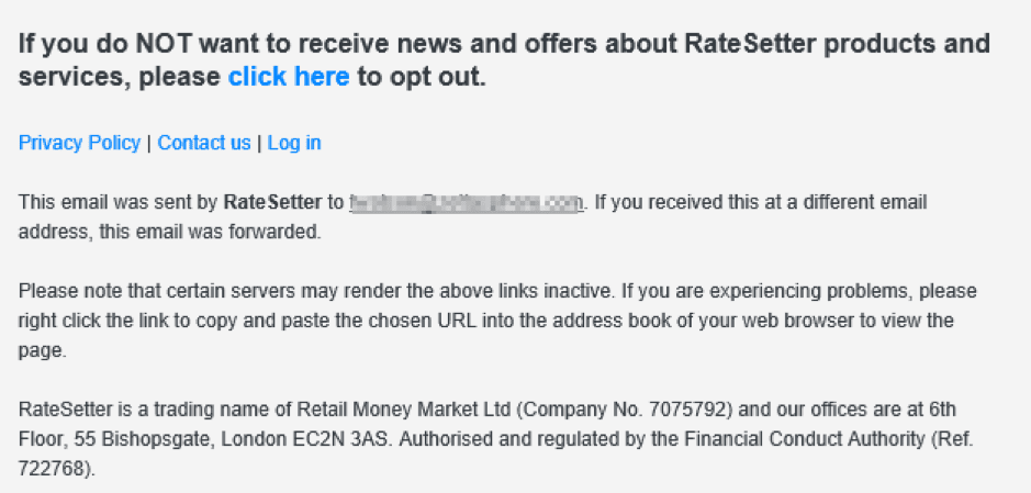 RateSetter marketing email footer