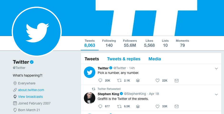 Twitter's Twitter profile