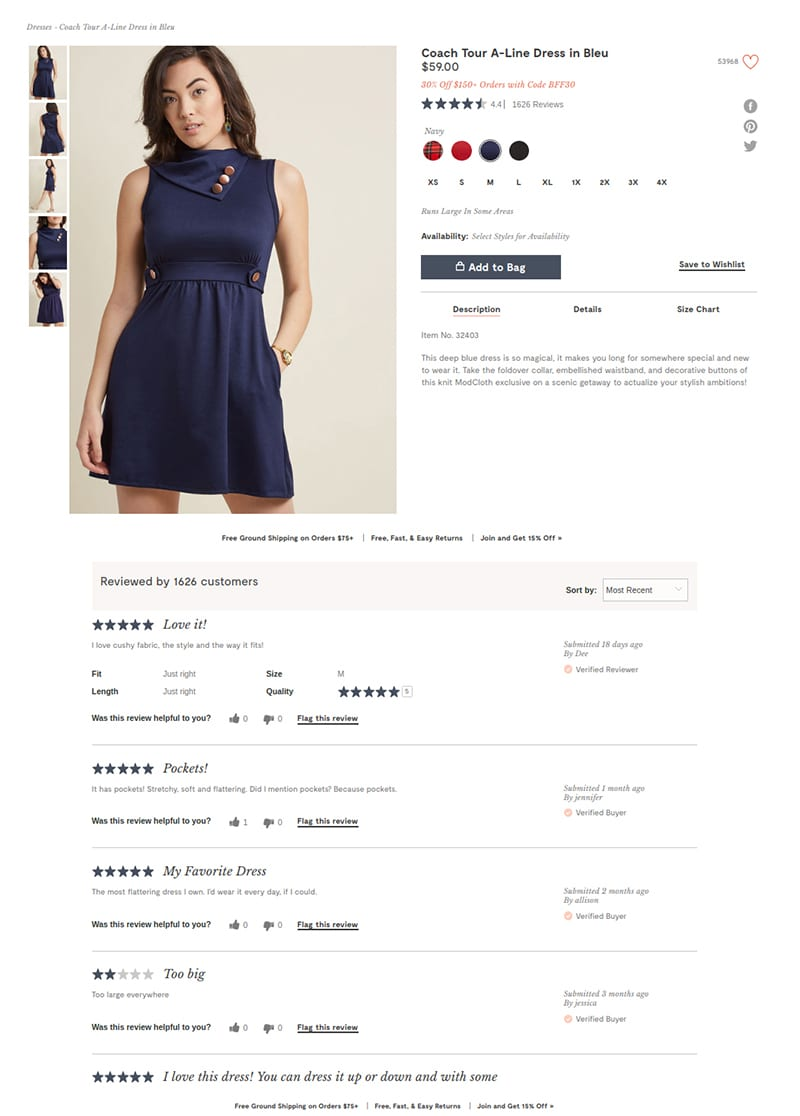 UGC reviews for ModCloth