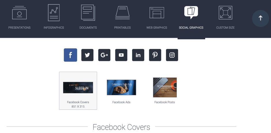 Visme social media options