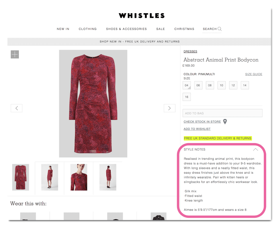 Whistles product description example