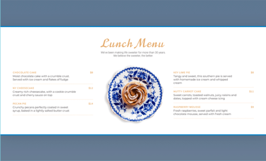 Personalized lunch menu example