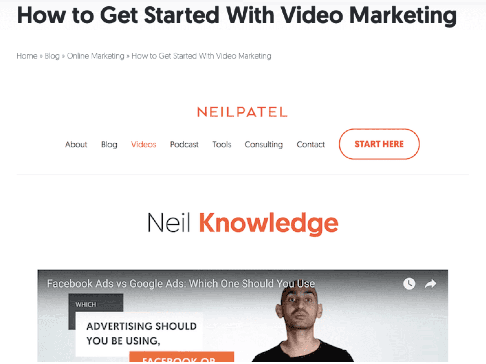 Neil Patel 'How to get started with video marketing'