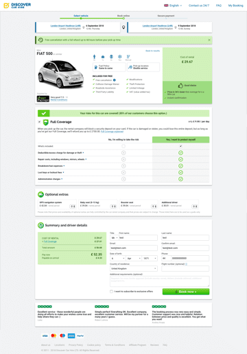 Discover Car Hire booking page