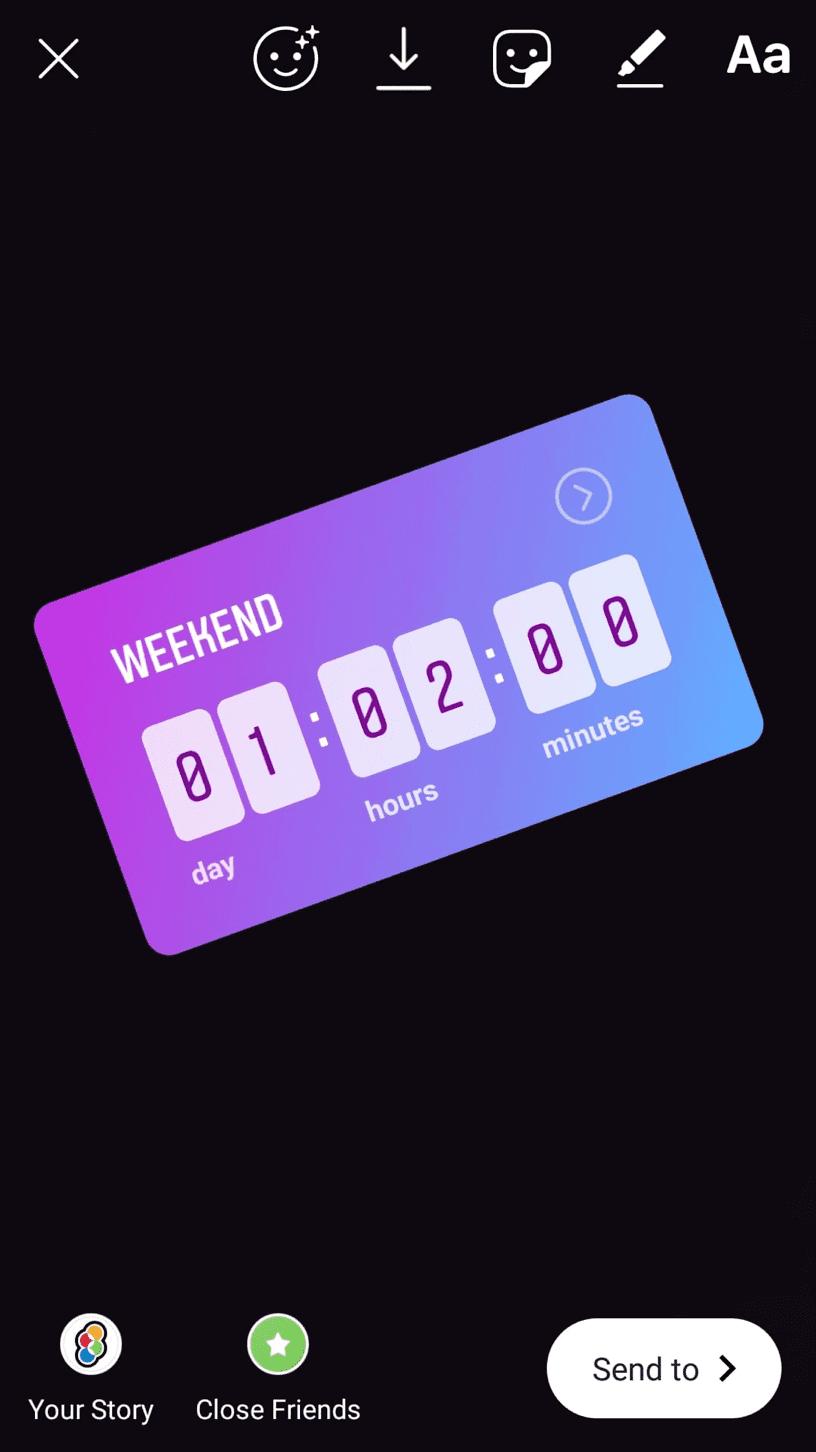 Instagram Story countdown stcker