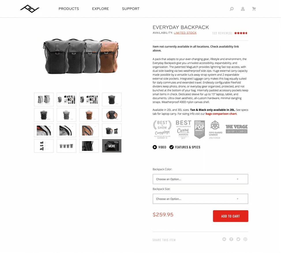 Peak Design product page