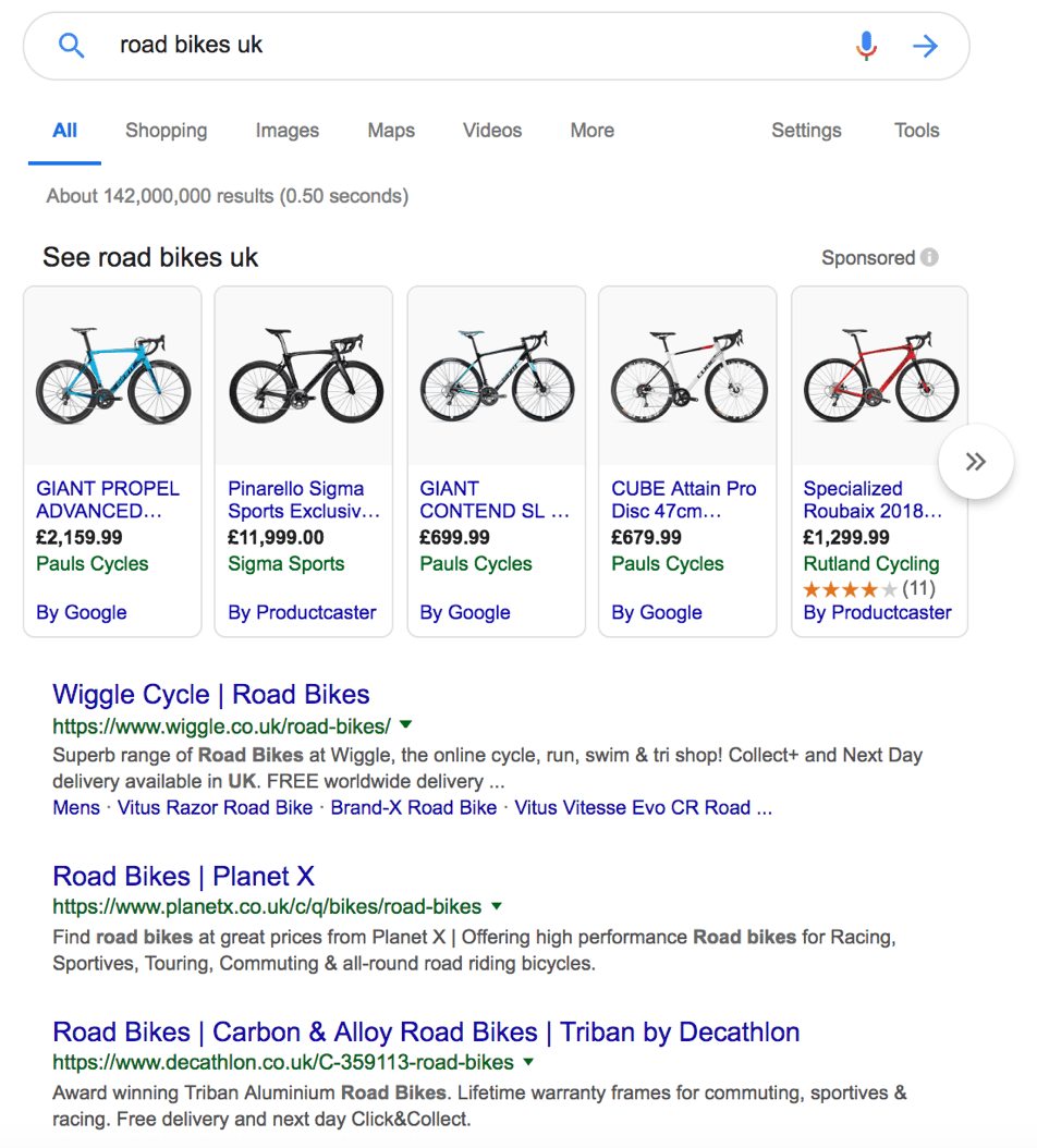 Road bikes UK Google search results