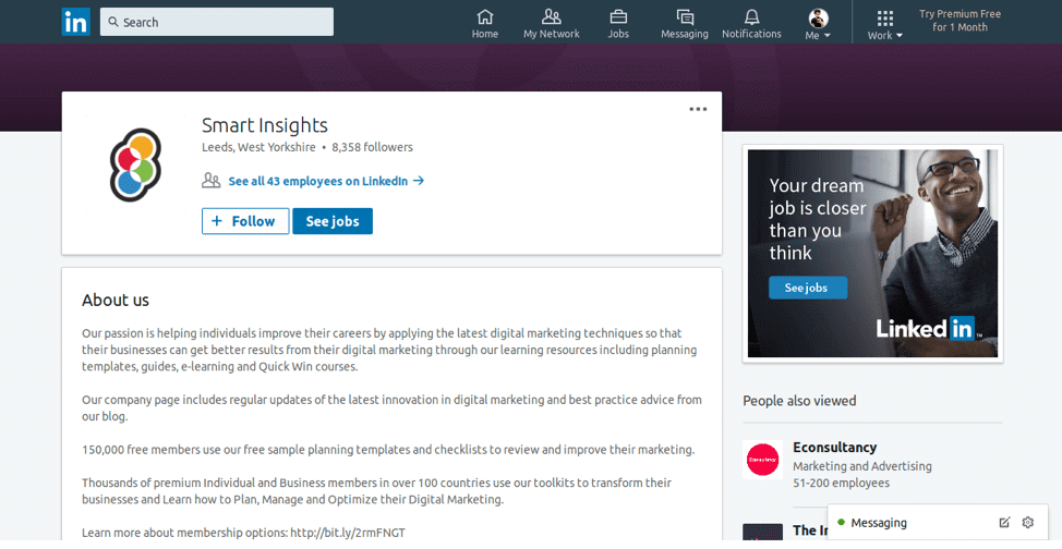 Smart Insights LinkedIn page