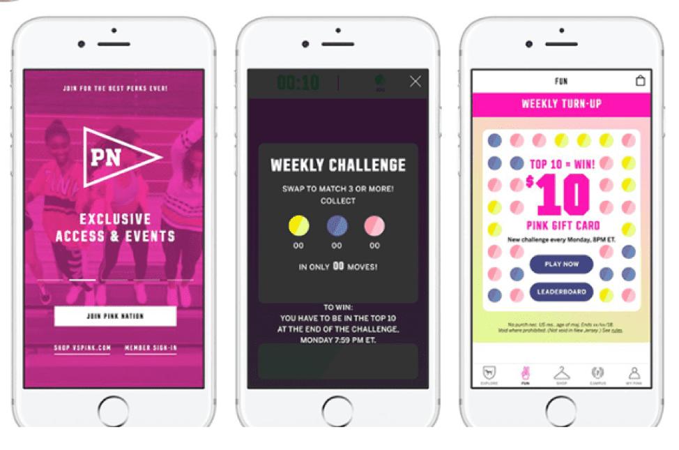 Victoria's Secret Pink Nation app pages